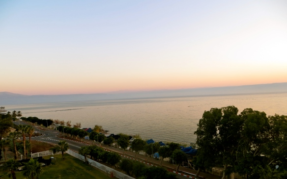 View from hotel room in Tiberious overlooking Sea of Galilee