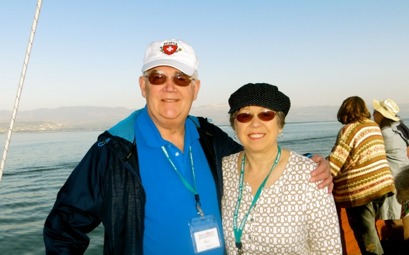 Dave and Glenda on boat sailing the Sea of Galilee